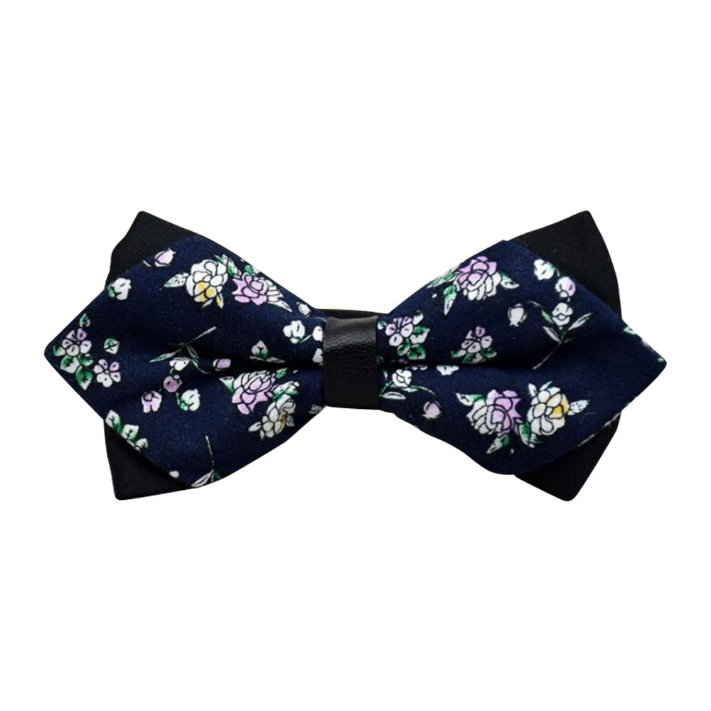Men's Blue White Floral 100% Soft Cotton Pre-Tied Bow Tie - Amedeo Exclusive