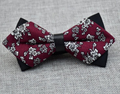 Men's Burgundy Grey Floral 100% Cotton Pre-Tied Bow Tie - Amedeo Exclusive
