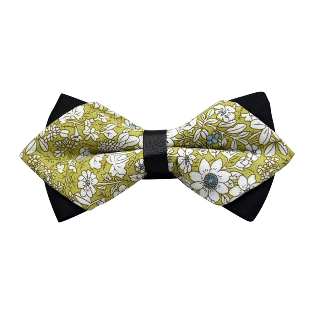 Men's Mustard Green Floral 100% Cotton Pre-Tied Bow Tie - Amedeo Exclusive