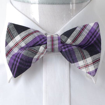 Men's Purple & Black Silk Pre-Tied Bow Tie