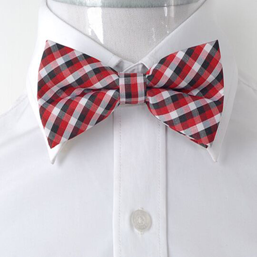 Men's Red White & Black 2 Silk Pre-Tied Bow Tie - Amedeo Exclusive