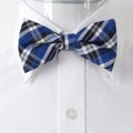Men's Blue White & Black Silk Pre-Tied Bow Tie - Amedeo Exclusive