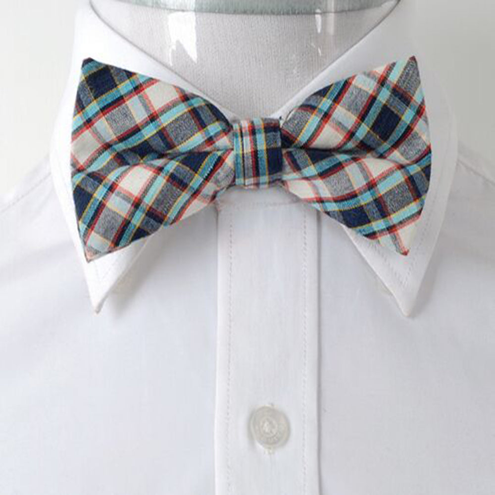 Men's Beige Turquoise Blue Nova Plaid Silk Pre-Tied Bow Tie - Amedeo Exclusive