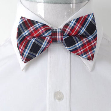 Men's Red Blue and Black Plaid Silk Pre-Tied Bow Tie