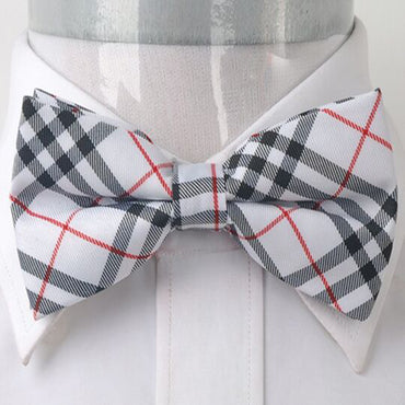 Men's White Black and Red Plaid Silk Pre-Tied Bow Tie
