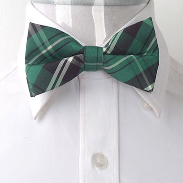 Men's Green Thin Nova Plaid Silk Pre-Tied Bow Tie