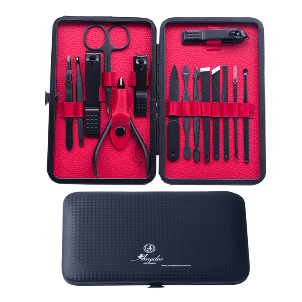 Unisex Stainless Steel 15 Piece Red Manicure & Pedicure Set - Amedeo Exclusive