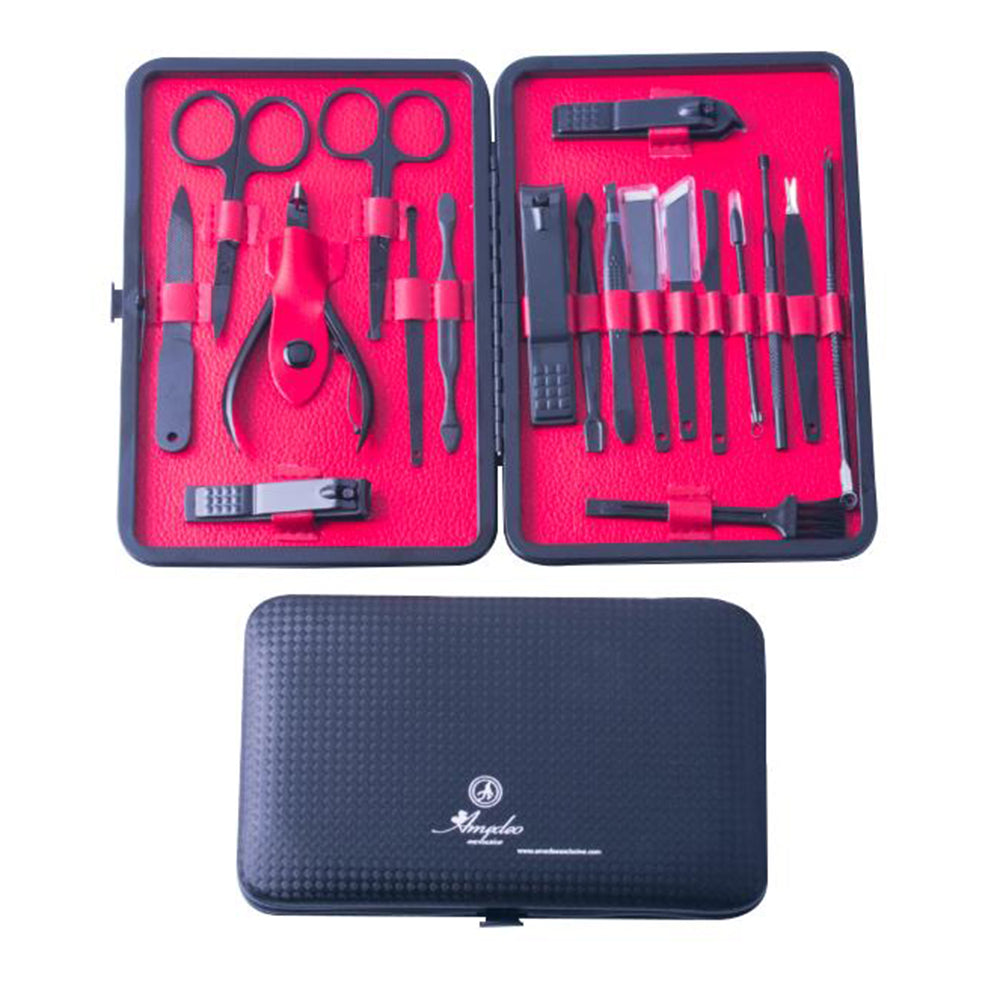 Unisex Stainless Steel 19 Piece Red Manicure & Pedicure Set