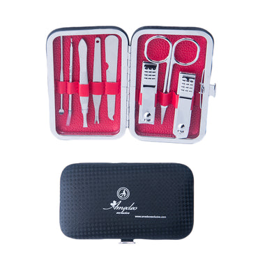 Unisex Silver Stainless Steel & Red 8 Piece Manicure & Pedicure Set