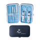 Unisex Silver Stainless Steel & Light Blue 8 Piece Manicure & Pedicure Set
