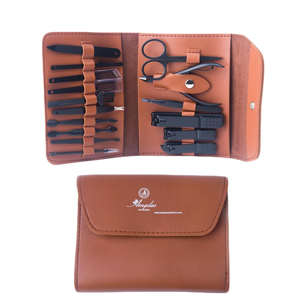 Unisex Black Chrome Brown Suede 16 Piece Manicure Pedicure Set - Amedeo Exclusive