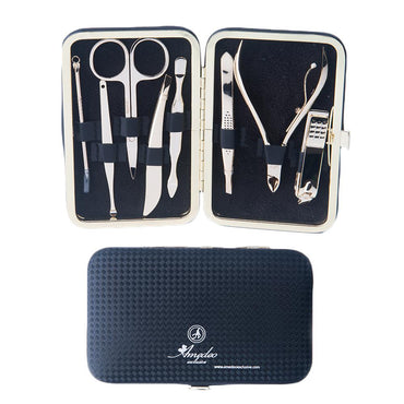 Unisex Gold Plating & Black Leather 8 Piece Manicure & Pedicure Set
