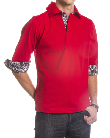 Men's Red Paisley Turkey Slim Fit Mesh Polo Shirt - Amedeo Exclusive