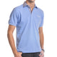 Light Blue Checkered Mens Slim Fit Polo Shirts - 100% Soft Cotton - Tailored Comfortable Fit - Amedeo Exclusive