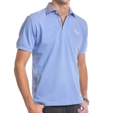 Men's Cotton Light Blue Checkered Slim Fit Plush Polo Shirt Turkey Made - Amedeo Exclusive