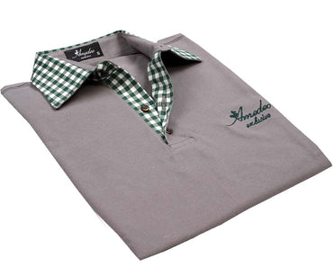 Grey Checkered Mens Slim Fit Polo Shirts - 100% Soft Cotton - Tailored Comfortable Fit - Amedeo Exclusive