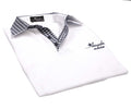 White Check Mens Slim Fit Polo Shirts - 100% Soft Cotton - Tailored Comfortable Fit - Amedeo Exclusive