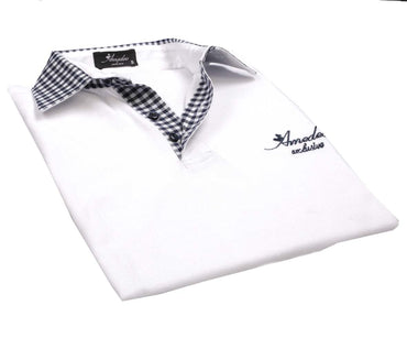 Men's Cotton White Check Slim Fit Turkey Polo Shirt - Amedeo Exclusive