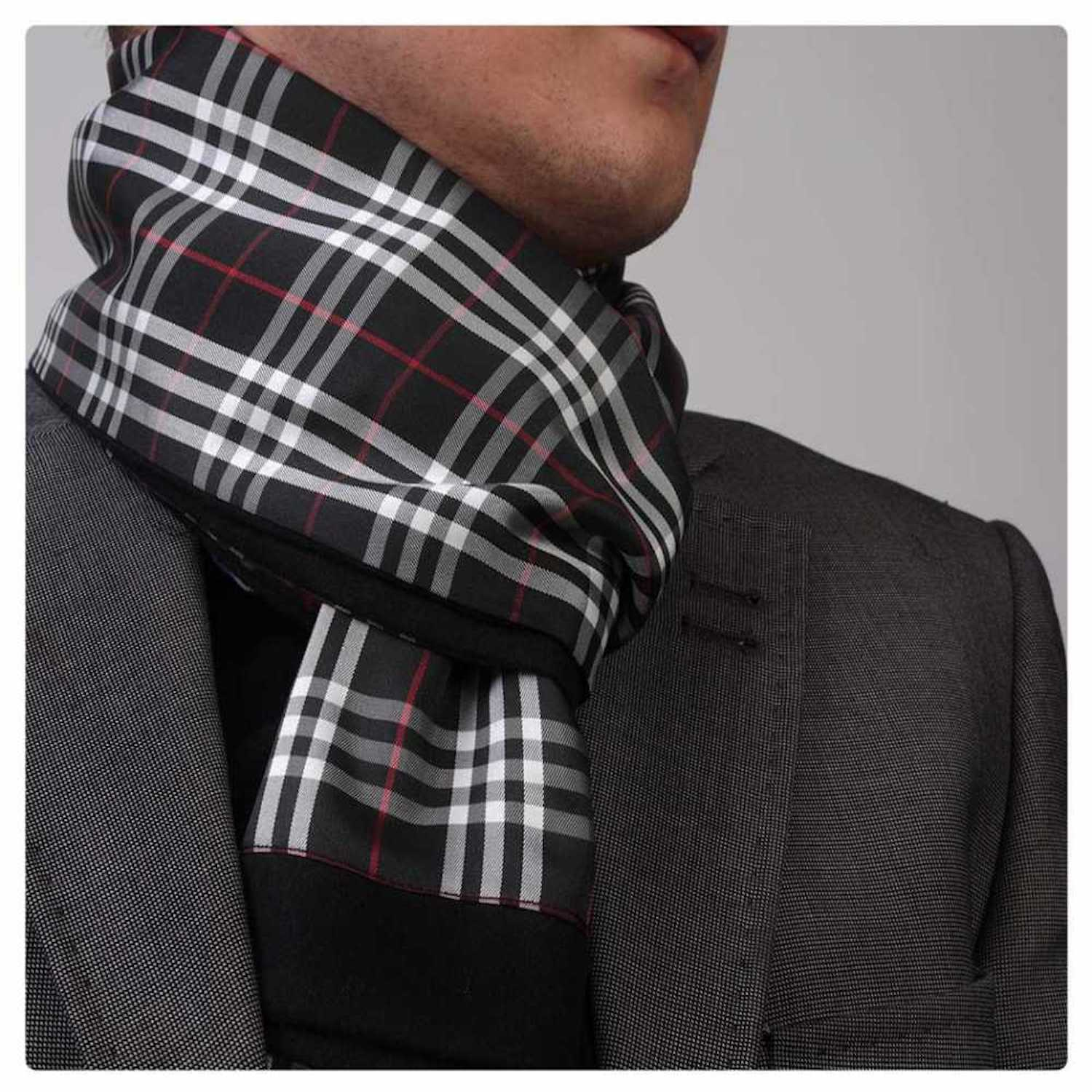 Black White Plaid Silk Soft Elegant Long Fashion Scarf