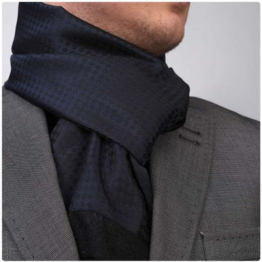 Unisex Navy Blue Dress Scarves for Winter Made of Silk Blend - Amedeo Exclusive
