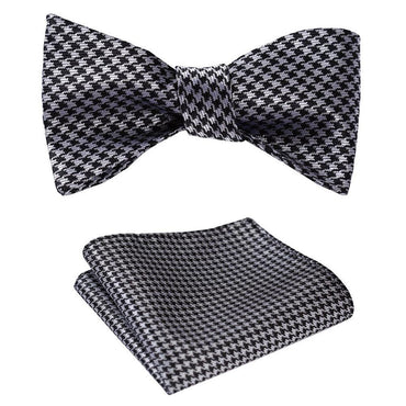 Amedeo Exclusive Men's Checker Silk Self Bow Tie & Handkerchief