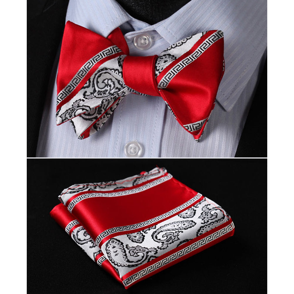 Red White Paisley Mens Silk Self tie Bow Tie with Pocket Squares Set - Amedeo Exclusive