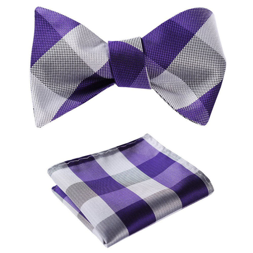 Purple Grey Check Mens Silk Self tie Bow Tie with Pocket Squares Set - Amedeo Exclusive