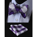 Men's Silk Self Bow Tie & Pocket Square Handkerchief - Amedeo Exclusive