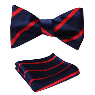 Amedeo Exclusive Men's Check Silk Self Bow Tie & Pocket Handkerchief