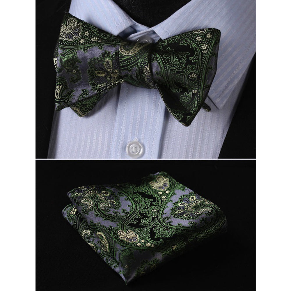 Green Textured Mens Silk Self tie Bow Tie with Pocket Squares Set - Amedeo Exclusive