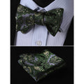 Men's Silk Self Bow Tie Pocket Square Handkerchief - Amedeo Exclusive