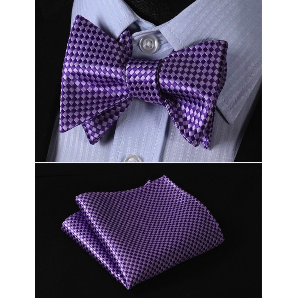 Metallic Purple Mens Silk Self tie Bow Tie with Pocket Squares Set - Amedeo Exclusive