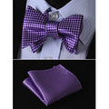 Metalic Purple Silk Self Bow Tie Matching Pocket Handkerchief