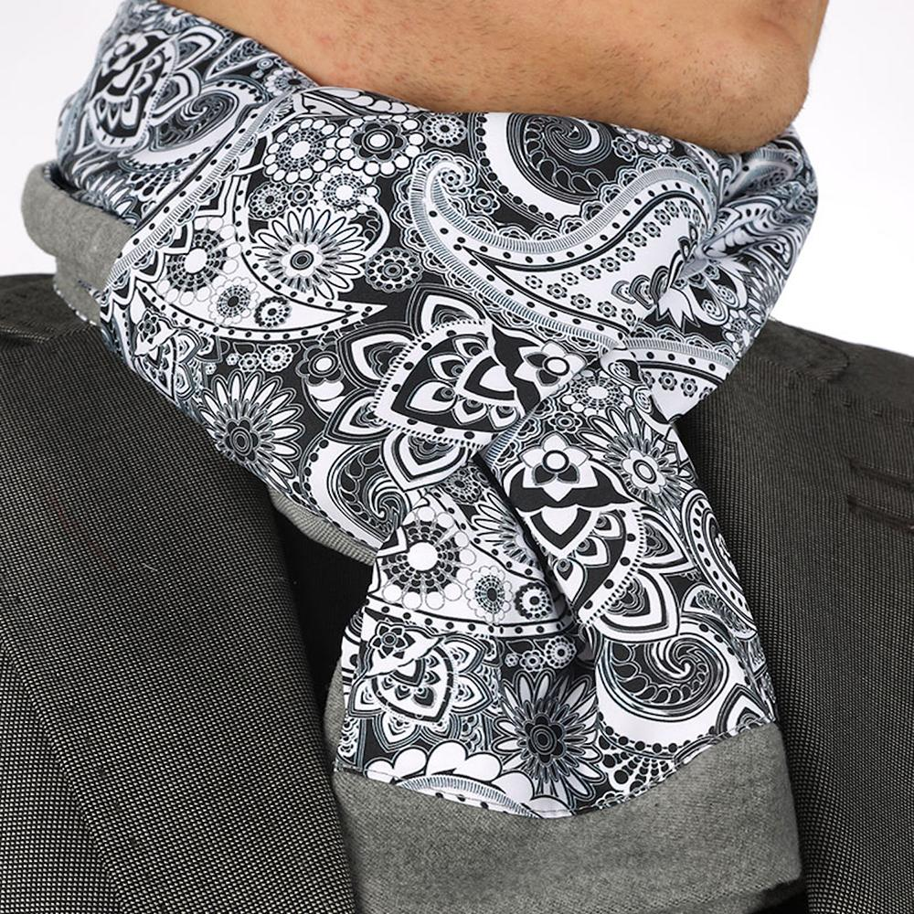 Unisex Black White Paisley Silk & Suede Soft Elegant Long Fashion Scarf - Amedeo Exclusive