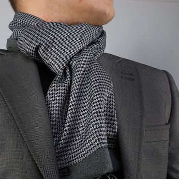 Unisex Houndstooth Soft Fashion Dress Scarves for Winter Made of Silk Blend - Amedeo Exclusive
