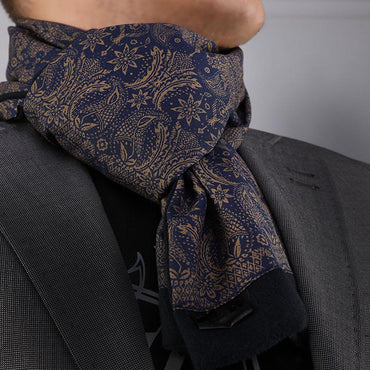 Unisex Blue Gold Paisley Silk Soft Elegant Long Fashion Scarf - Amedeo Exclusive