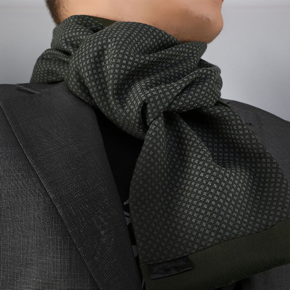 Unisex Green Black Soft Fashion Dress Scarves for Winter Made of Silk Blend - Amedeo Exclusive