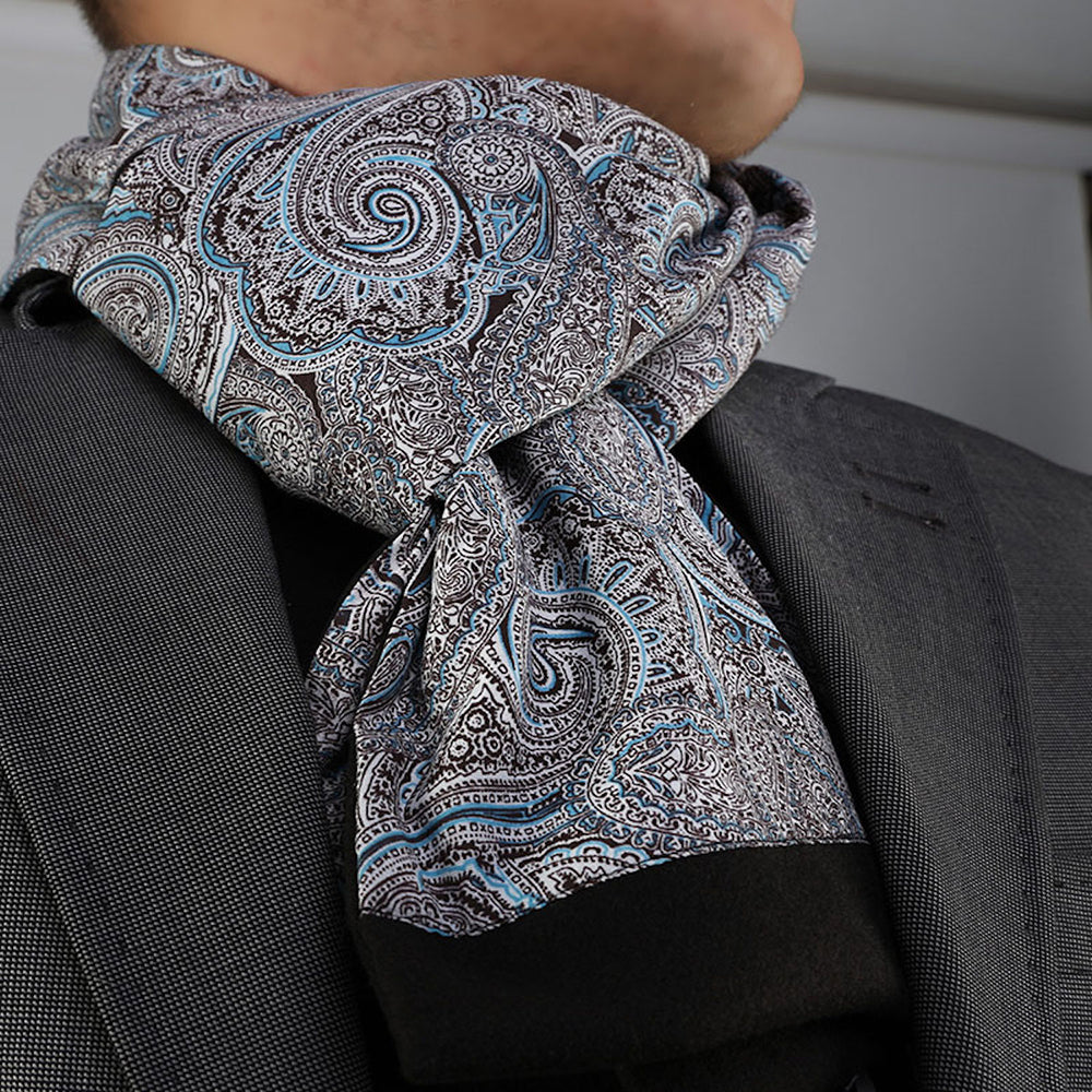 Unisex Gray Blue Paisley Silk Soft Elegant Long Fashion Scarf - Amedeo Exclusive