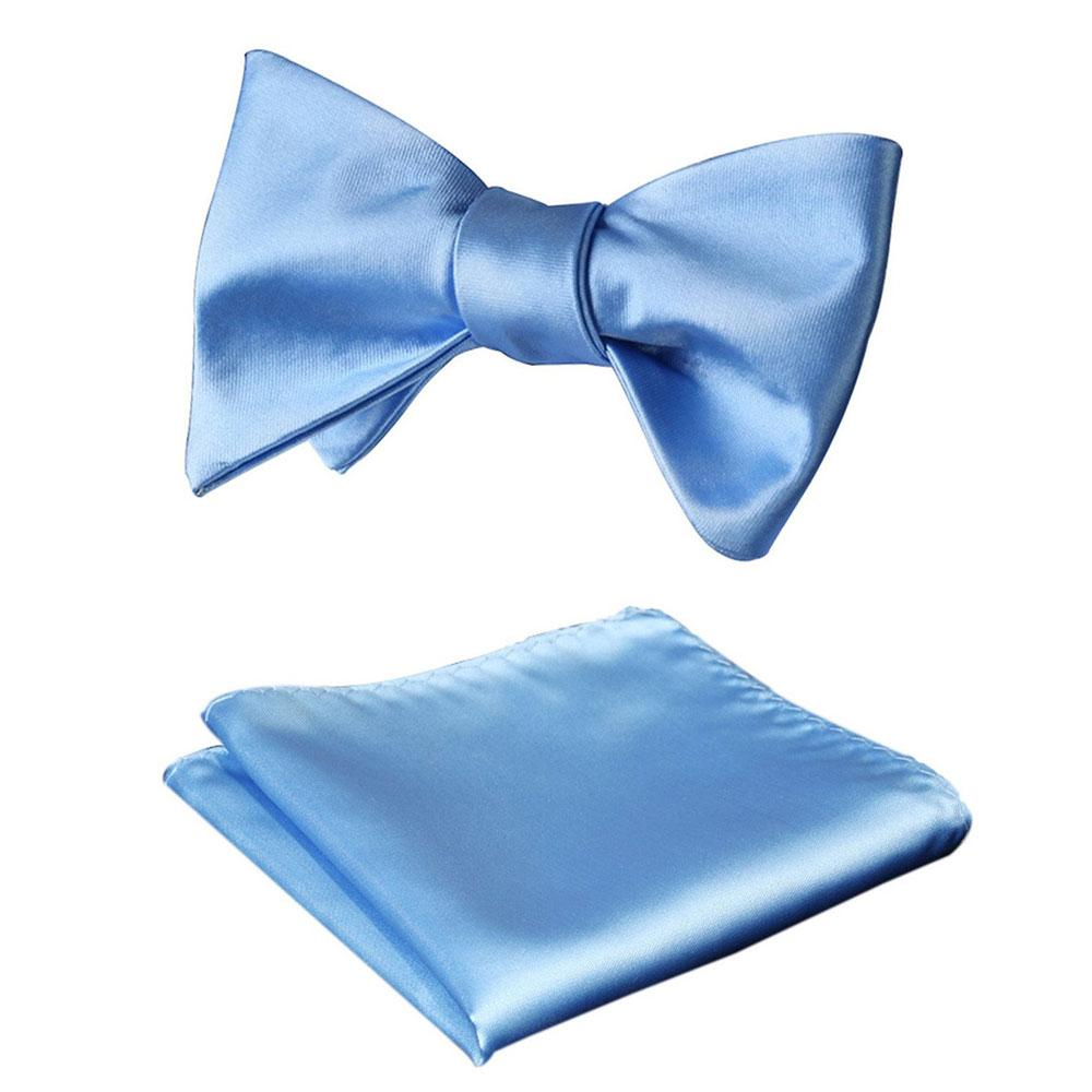 Baby Blue Mens Silk Self tie Bow Tie with Pocket Squares Set - Amedeo Exclusive