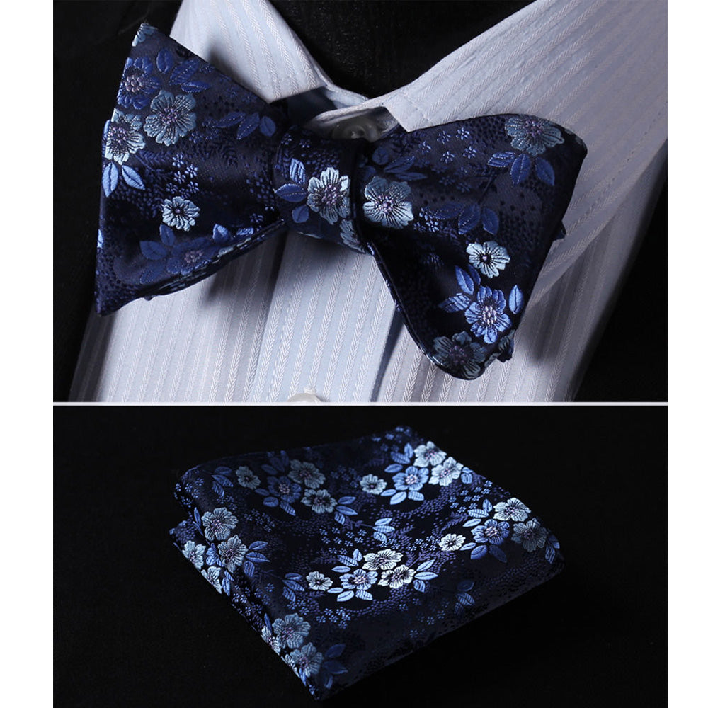 Men's Silk Floral Self Bow Tie Matching Handkerchief