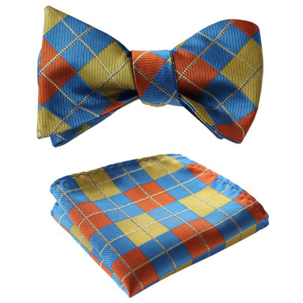 Men's Olive Orange Blue Check Silk Self Bow Tie With Handkerchief - Amedeo Exclusive