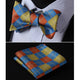 Men's Olive Orange Blue Check Silk Self Bow Tie With Handkerchief