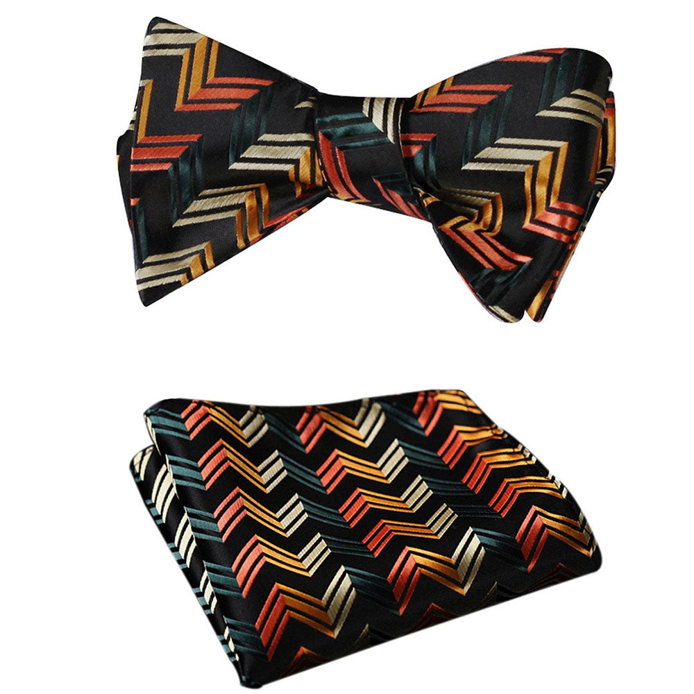 Amedeo Exclusive Men's Silk Self Bow Tie Matching Pocket Handkerchief