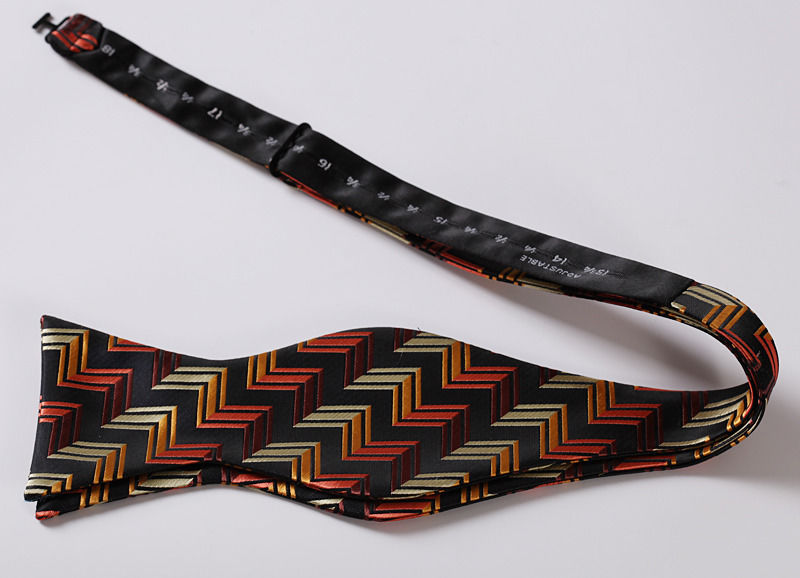 Men's Orange Black Stripe Silk Self Bow Tie & Handkerchief