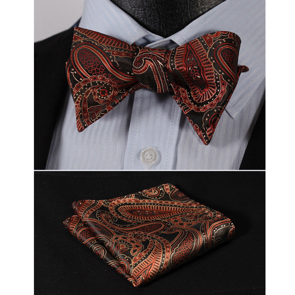 Orange Paisley Mens Silk Self tie Bow Tie with Pocket Squares Set - Amedeo Exclusive