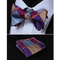 Yellow Check Silk Self Bow Tie Matching Handkerchief - Amedeo Exclusive