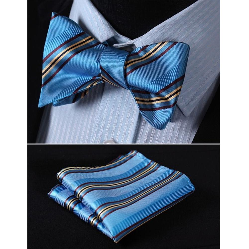 Men's Silk Blue Yellow Stripe Self  Bow Tie Pocket Handkerchief - Amedeo Exclusive