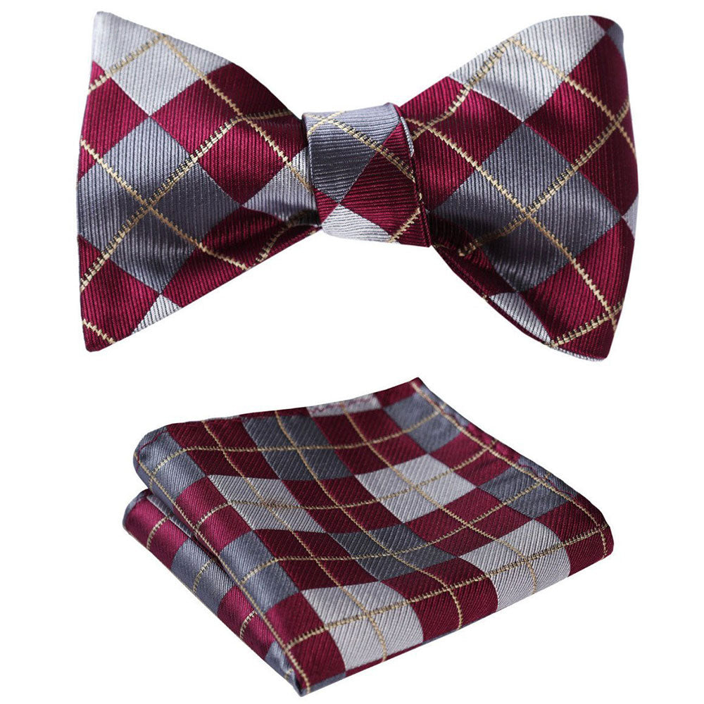 Burgundy Gray check Mens Silk Self tie Bow Tie with Pocket Squares Set - Amedeo Exclusive