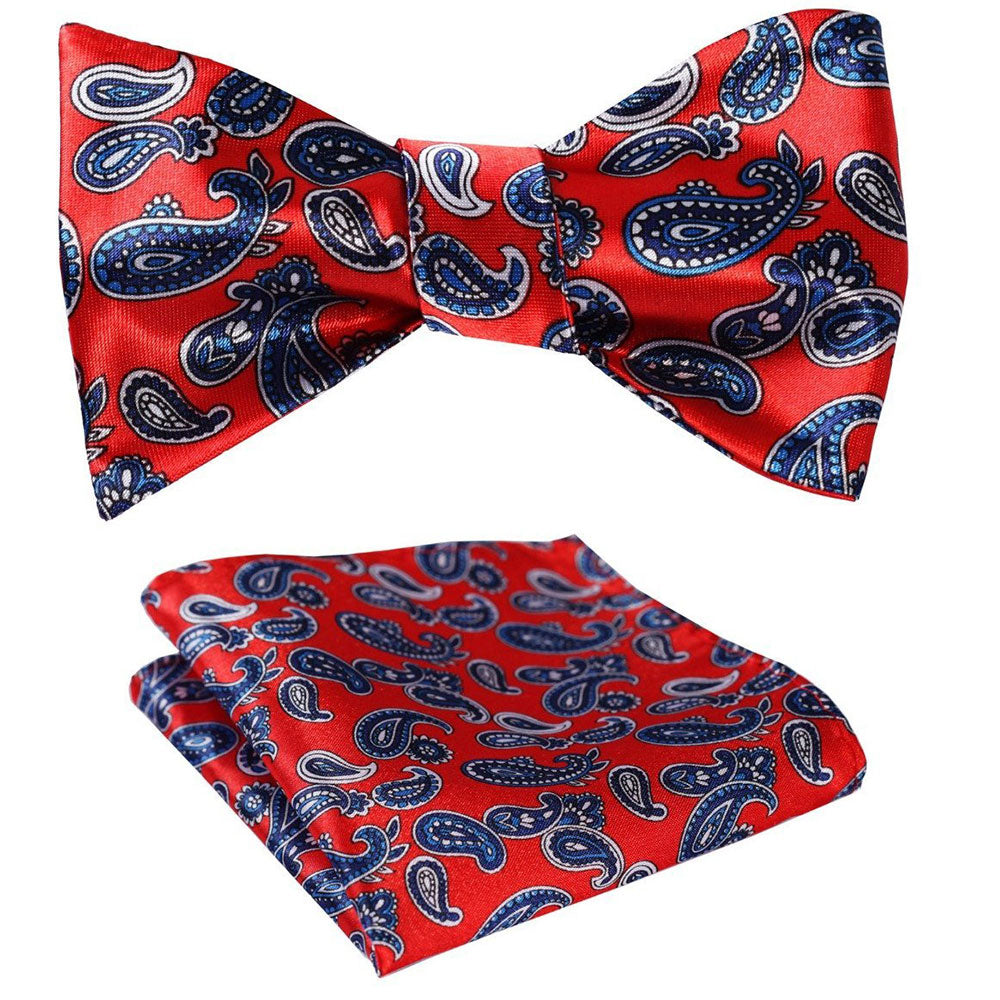 Amedeo Exclusive Red Blue Paisley Self Bow Tie Matching Handkerchief