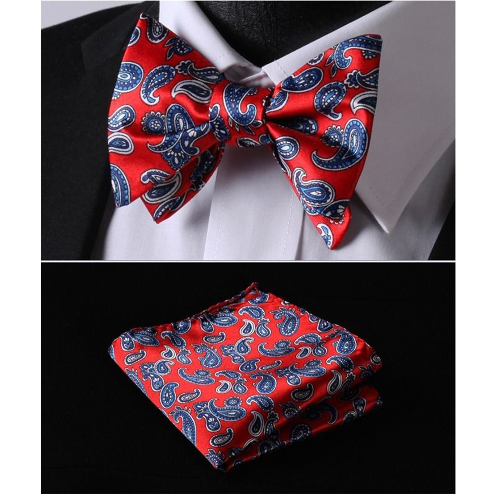 Self Bow Tie Matching Handkerchief